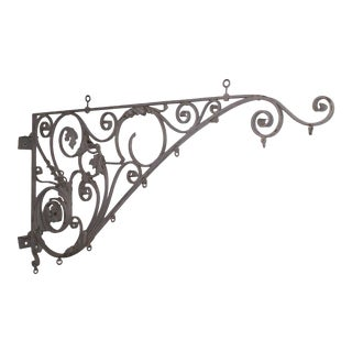 19th Century Wrought Iron Sign Bracket For Sale