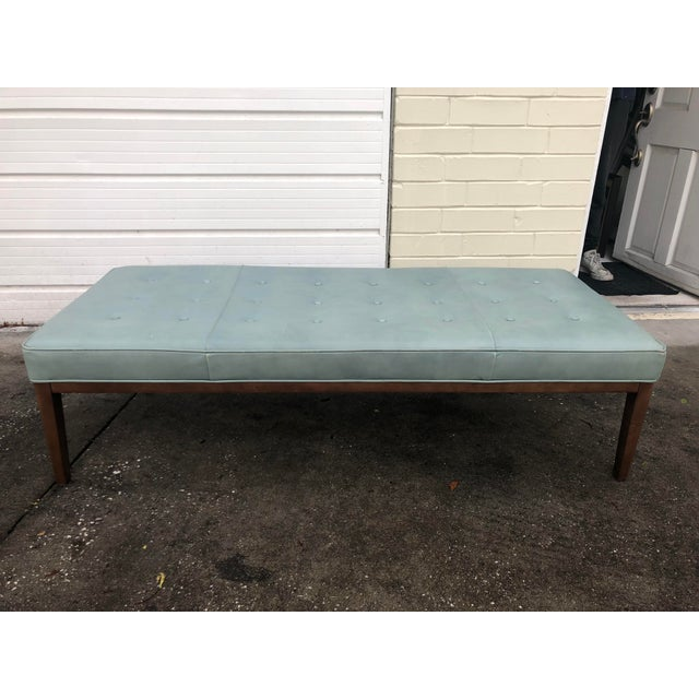 Teal Leather Cocktail Ottoman Chairish