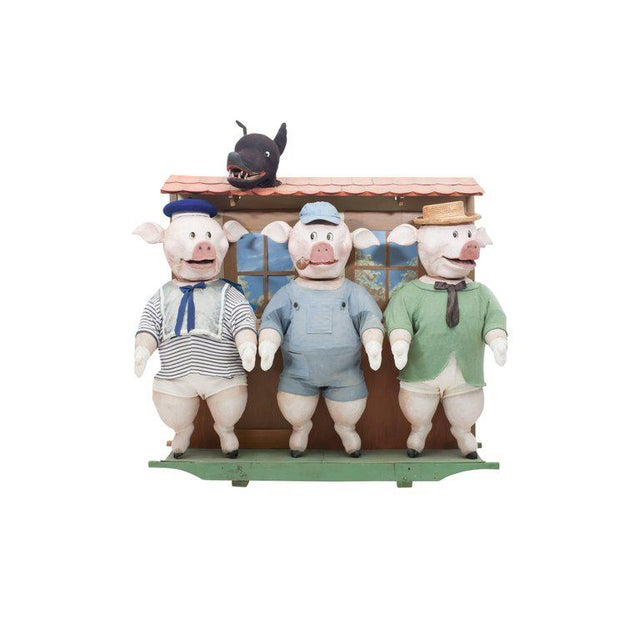 The three little pigs and the big bad wolf's movable puppetry piece. A most rare item, depicting the famous fable by...