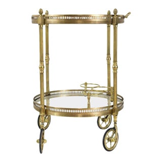 Round Bar Cart Attributed to Maison Baguès
