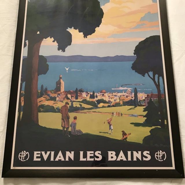 "Art Deco Framed ""Evian Les Bains"" Tourism Advertisement For Sale - Image 3 of 7"