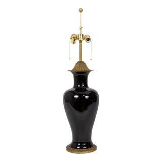 Marbo Black Porcelain & Brass Amphora Jar Lamp For Sale