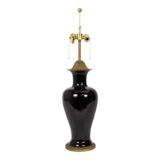 Marbro Black Porcelain & Brass Amphora Jar Lamp For Sale