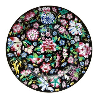 Chinese Mille Fleur Famille Noir Floral Plate For Sale