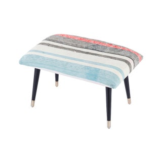Pasargad Blue & Red Home Bosphorus Collection Kilim Cover Ottoman For Sale