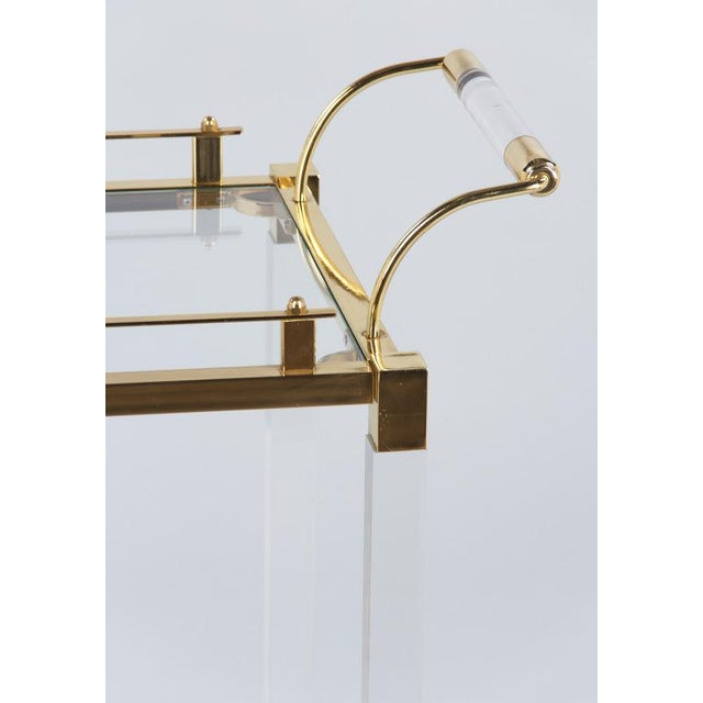 1970s Spanish Lucite and Brass Bar Cart For Sale - Image 4 of 11