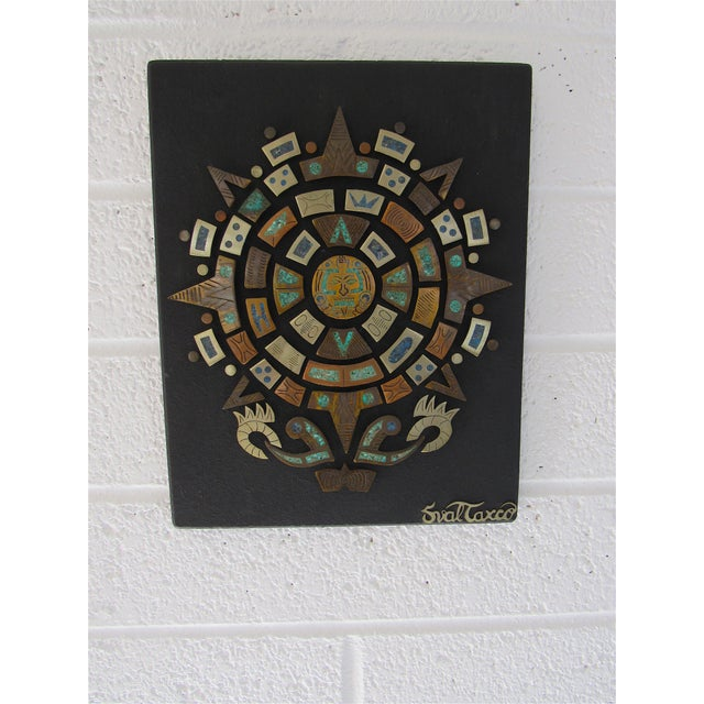 Here is a very nice wall plaque by mexican modern artist Sval of Taxco. A very detailed piece including a variety of mixed...