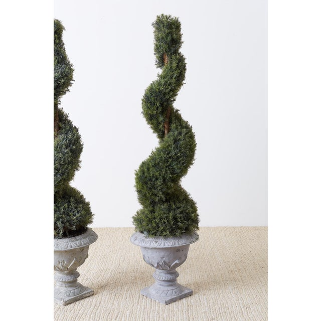 Pair of Faux Spiral Cypress Trees in Urns For Sale - Image 4 of 13