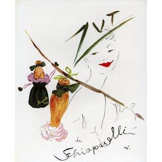 Matted Mid-Cenury Schiaparelli Perfume Print Zut For Sale
