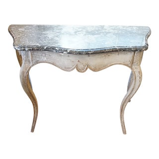 18th Century Louis XV Painted Console With Marble For Sale