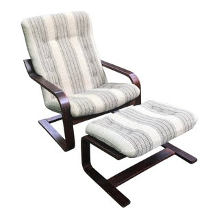 Vintage Mid Century Westnofa Rosewood Lounge Chair and Ottoman For Sale