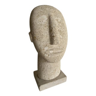 Sculptural Stone Face Statue For Sale