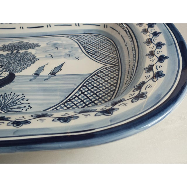 Nazari Blue & White Hand Painted Portuguese Platter - Image 5 of 9