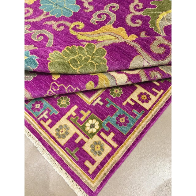 "Exotic Fuschia Chinese Design Rug, 8' X 10'3"" For Sale - Image 10 of 12"