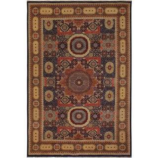 Southwestern Mamluk Carter Blue/Rust Wool Rug - 9'10 X 13'11 For Sale