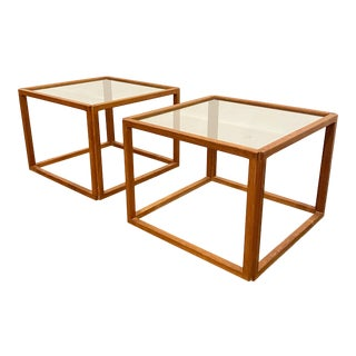 Kai Kristiansen Teak and Glass Top Side Tables - a Pair For Sale