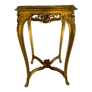 C. 1910's Gold Side Table With Marble Top and Floral Designs For Sale