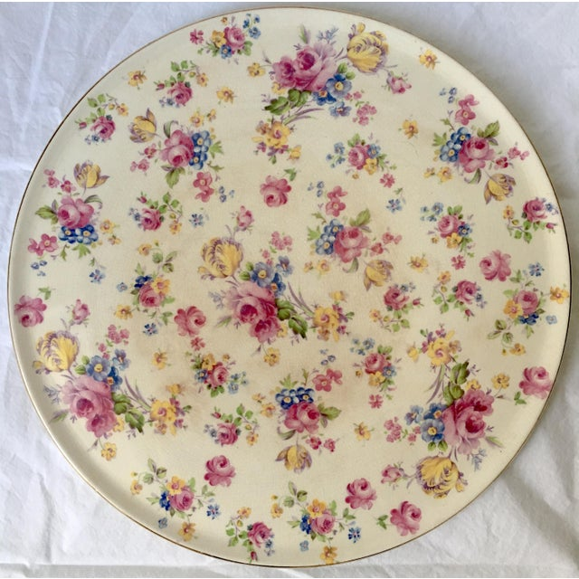 Boho Chic Vintage English Chintz Creamware Serving Plate For Sale - Image 3 of 6