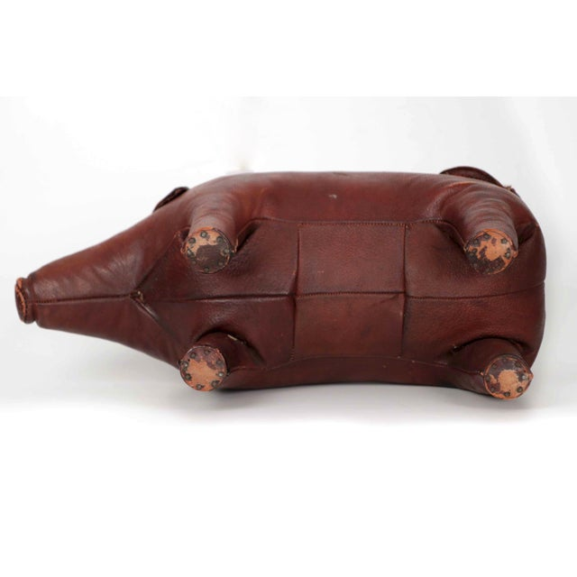 1960s Vintage Stitched Leather Pig Footstool by Dimitri Omersa for Abercrombie & Fitch - Image 8 of 11