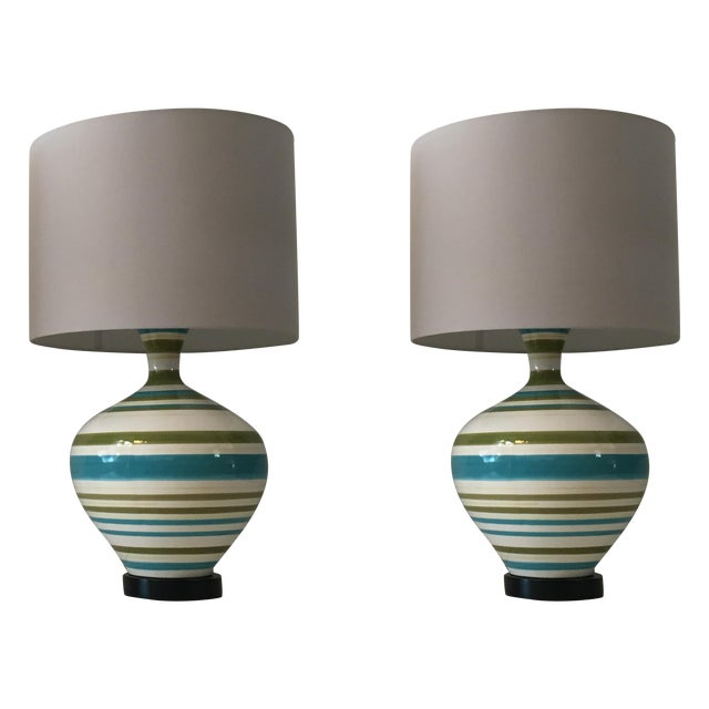 Mid-Century Hand Painted Lamps - A Pair - Image 1 of 5