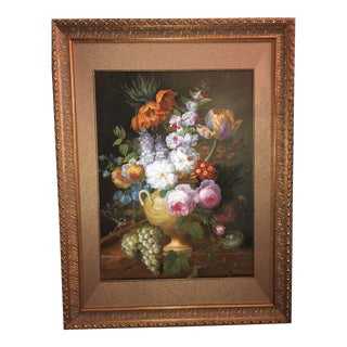 1980s Floral Still Life Oil Painting For Sale