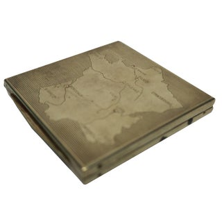 Vintage Brass and Mirror Compact Case or Box With Map of France For Sale