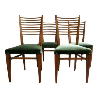 1950s Gio Ponti Style Ladder Back Chairs- Set of 4 For Sale