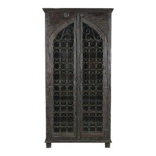 Wooden 2-Door Accent Almirah Wine Rack Cabinet