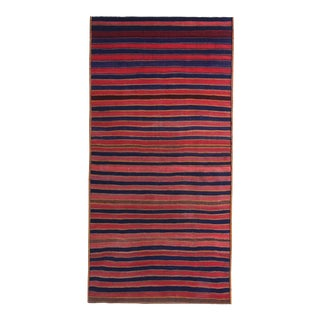 Modern Turkish Kilim Runner Rug With Red & Blue Stripes on a Brown Field For Sale