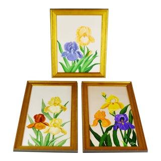 Vintage Framed Floral Still Life Artist Signed Oil on Canvas Paintings - Set of 3 For Sale