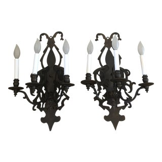 Rustic Iron Sconces - A Pair For Sale