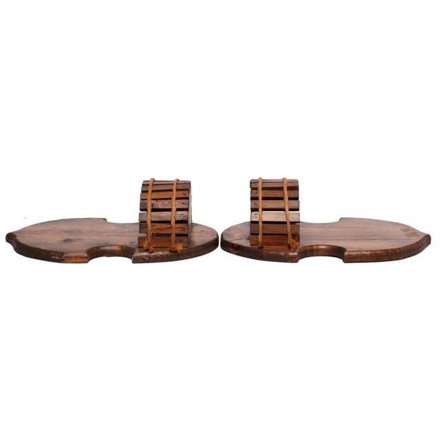 1960s Japanese Style Wood Brackets - a Pair For Sale - Image 4 of 11