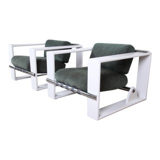 Milo Baughman for Directional Mid-Century Modern Cube Lounge Chairs, Pair For Sale