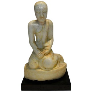 Antique Burmese Mandalay Style Alabaster Monk Statue, 18th-19th Century For Sale