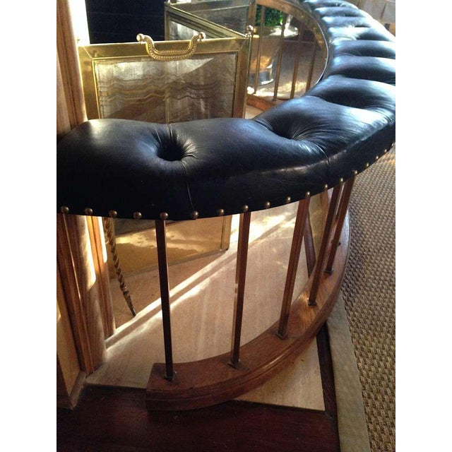 Bow-Shape French Fireside Club Fender with Black Leather Tufted Seat For Sale In Savannah - Image 6 of 6