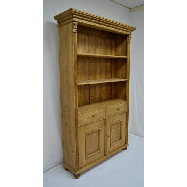 Rustic Antique Pine Bookcase With Two Doors and Two Drawers For Sale - Image 3 of 9