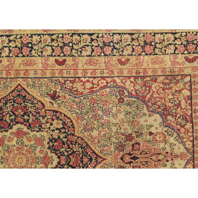 Fine antique Persian Kermanshah. Handmade from lamb's wool on cotton foundation. This rug has a dense, soft pile, and...