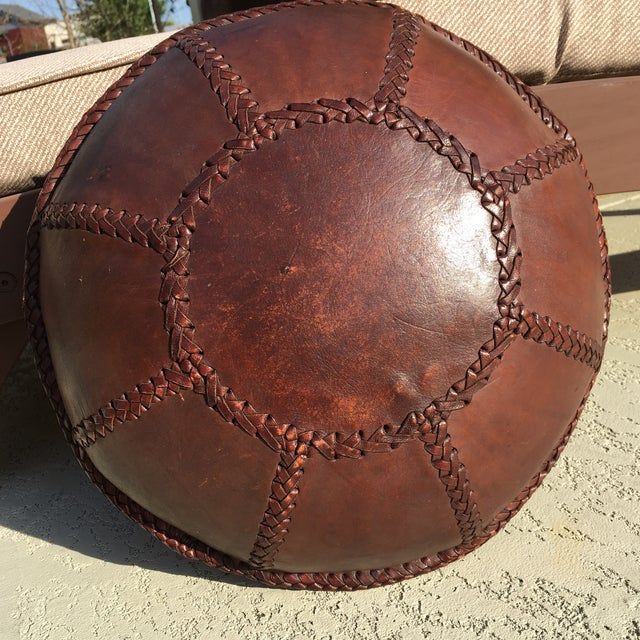 Vintage Bohemian Hand Stitched Leather Floor Pillow - Image 3 of 11