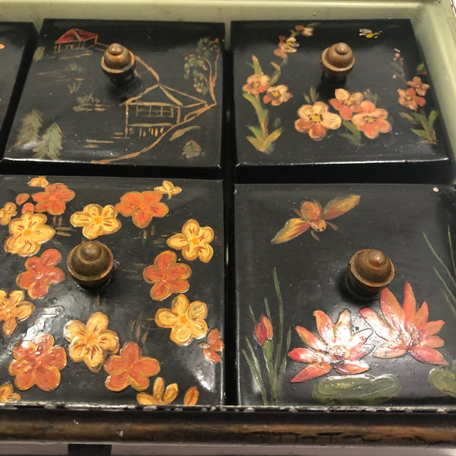 Tole Painted Asian-Themed Antique Tin Spice Box With Six Canisters - 7 Pieces For Sale - Image 9 of 13