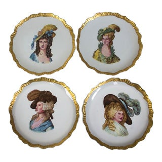 1960s French Porcelain Portrait Plates - Set of 4 For Sale