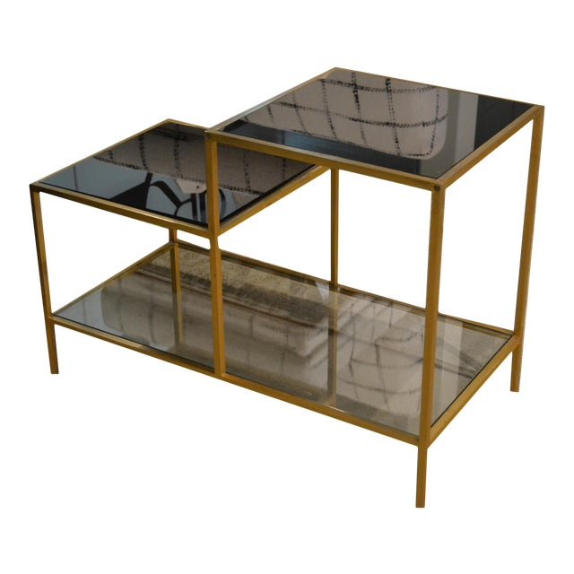 Vintage Gilt Metal End Table With Smoked Glass, France, C.1970 For Sale