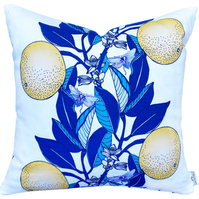 """English Orange Blossom French Stripe Classic Blue 20"""" Linen Cotton Pillow For Sale - Image 3 of 3"""