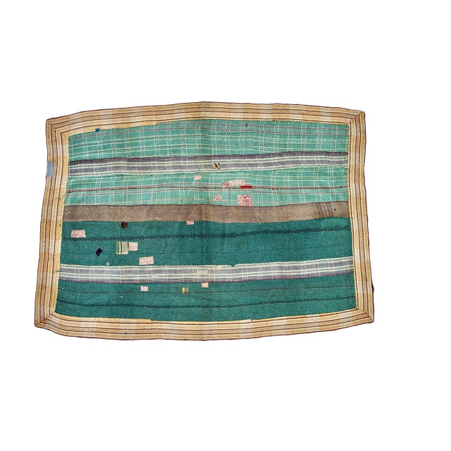 Reversible Hand-Stitched Indian Kantha Throw Blanket For Sale
