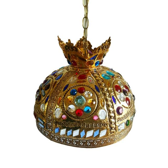 Hollywood Regency Jeweled Pendant Light - Image 3 of 3