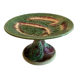 19th Century Vintage Majolica Begonia Leaf Cake Stand/Compote For Sale