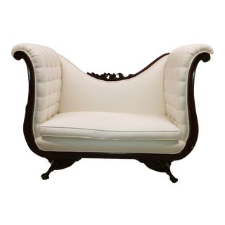 Vintage Empire Tall Back Mahogany Wood Loveseat For Sale