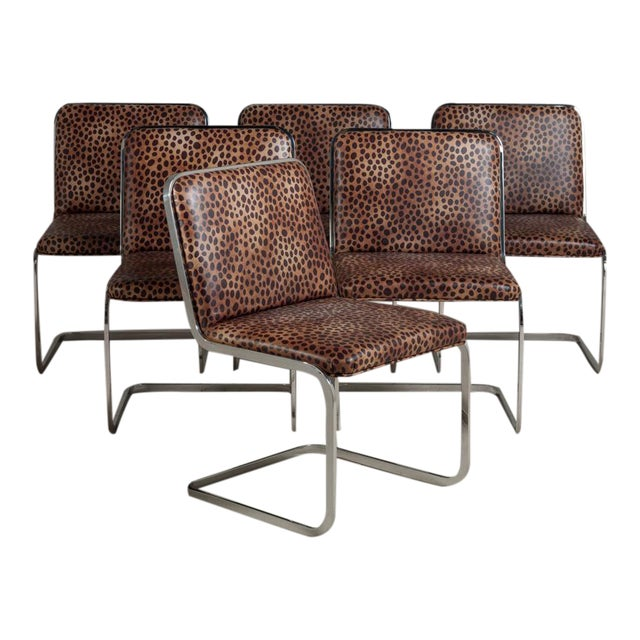 Set of Six Chromium Steel-Framed Cantilevered Dining Chairs, 1960s - Image 1 of 5