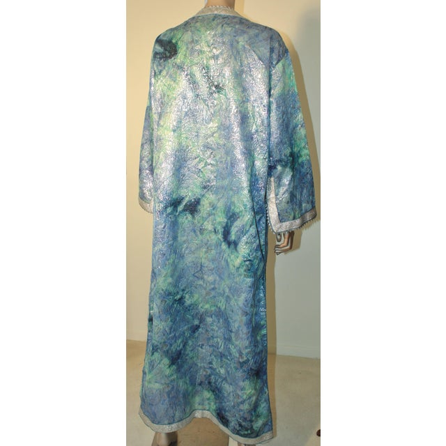 Blue Moroccan Caftan Maxi Dress Brocade Aquamarine Blue and Silver Size M to L For Sale - Image 8 of 11