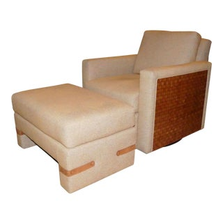 Directional Furniture Modern Contemporary Danny Chair and Collins Ottoman For Sale