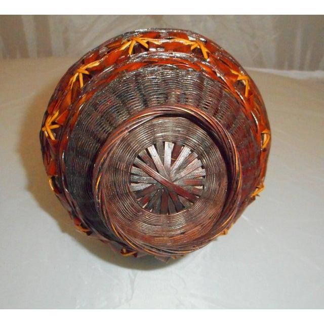 Antique Japanese Ikebana Hanakago Bamboo Vase - Master Weaver For Sale In Detroit - Image 6 of 8